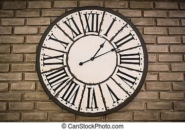 mur, vendange, brique, horloge