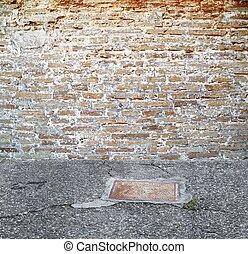 mur, vendange, brique, monture