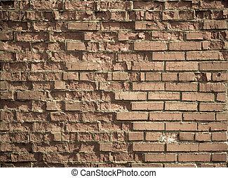 mur, vendange, brique, porté, fond