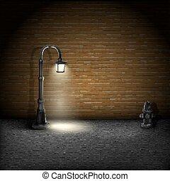 mur, vendange, brique, streetlamp, arrière-plan.