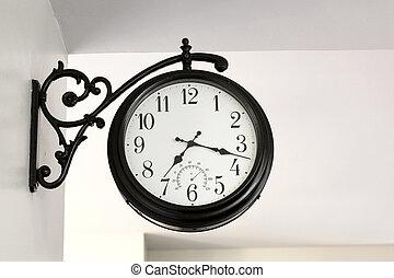 mur, vendange, horloge, pendre