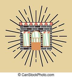 mur, vendange, retro, fond, brique, magasin