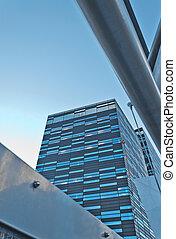 mur verre, gratte-ciel, moderne