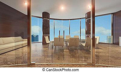 mur, verre, moderne, cloison bureau