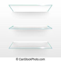 mur, verre, vecteur, vide, étagères