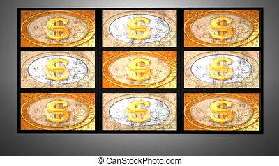 mur, vidéo, dollar, euro