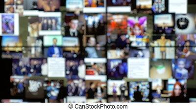 mur, vidéo, en mouvement, écrans