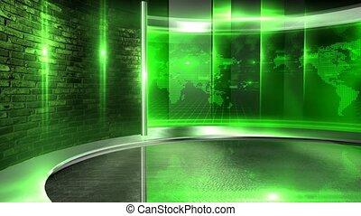 mur, vidéo, vert