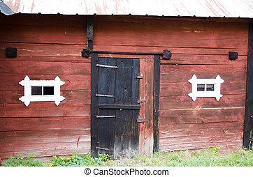 mur, vieux, grange