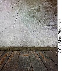 mur, vieux, plancher