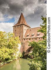 mur, ville, moyen-âge, nuernberg