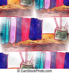 Mural  background  seamless books, pens pattern