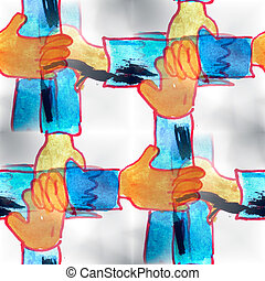 Mural  background  seamless hands pattern