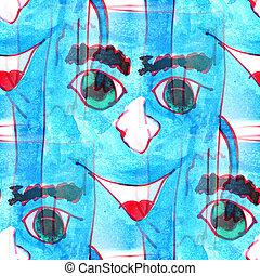 Mural background seamless  pattern blue Book texture