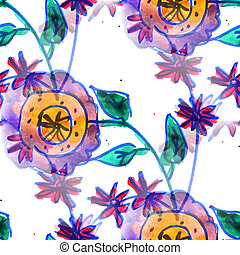 Mural background seamless  pattern flowers texture