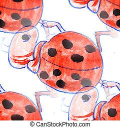 Mural background seamless  pattern ladybug texture