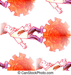 Mural background seamless people and gear pattern - Mural...