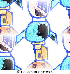 Mural  background  seamless spaceship pattern