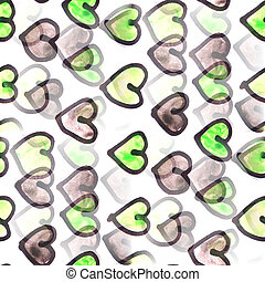 Mural   Black and green heart background seamless pattern backgr