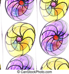 Mural colored umbrellas and circles background seamless pattern