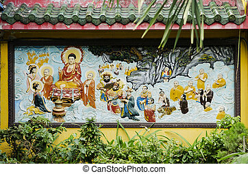 mural in chinese temple ho chi minh saigon vietnam