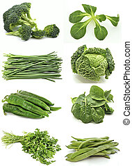 Mural of green vegetables surrounded by white background
