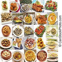 Mural of Spanish dishes