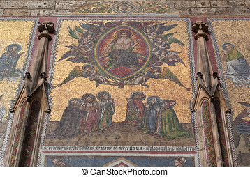 Mural on Prague Cathedral - Religious mosaic above arches