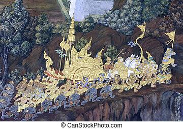 Mural painting in wat phra kaew, Bangkok Thailand