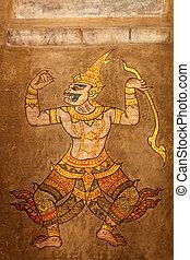 Mural Point massage at Wat Pho, Bangkok. - Mural painting...