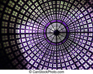 Mural purple - Mural glass decoration roof