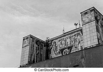 mural, ruso, soviético, edificio