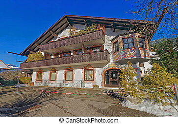 Murals on the outside walls of the charming house in Garmisch-Partenkirchen