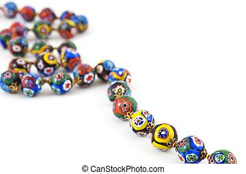 murano, verre, coloré, collier
