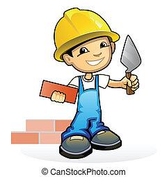 muratore, cazzuola, giovane