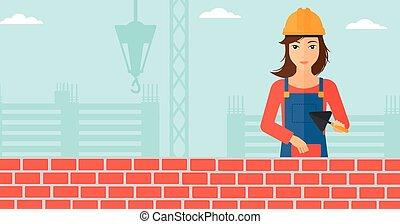 muratore, con, spatola, e, brick.