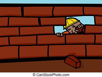 muratore, parete, chiusura