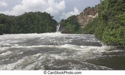 Murchison Falls in super slow motion and flat color -...