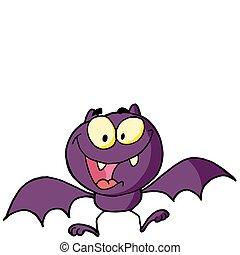 murciélago, carácter, caricatura, feliz