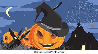 murciélago de halloween, calabazas, arañas