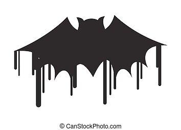 murciélago de halloween, forma, pintura