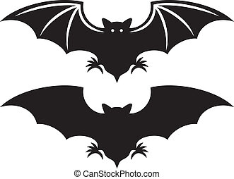murciélago, silueta, (flight, bat)