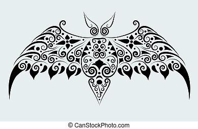 murciélago, vector, ornamento