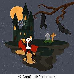 murciélagos, dracula, illustration., oscuridad, asustadizo,...
