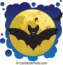 murciélagos, luna