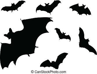 murciélagos, siluetas
