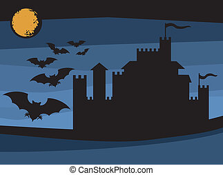 murciélagos, vuelo, y, viejo, castillo