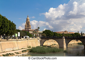 Murcia Cathedral viewed from the Segura river