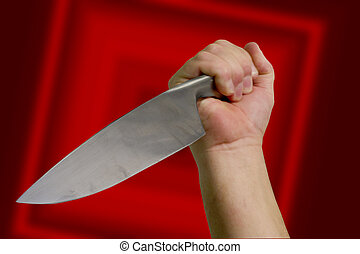 Murder - A knife wielding attacker. With clipping path.