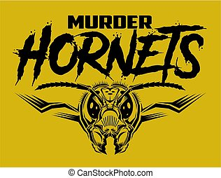 murder hornets sports team design with mascot head for school, college or league